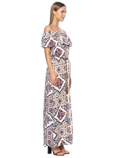 NetWork Kadın 1069640 Straplez Desen Uzun Elbise Mor